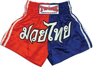 Twins Thai Style Trunks Red/Blue Block